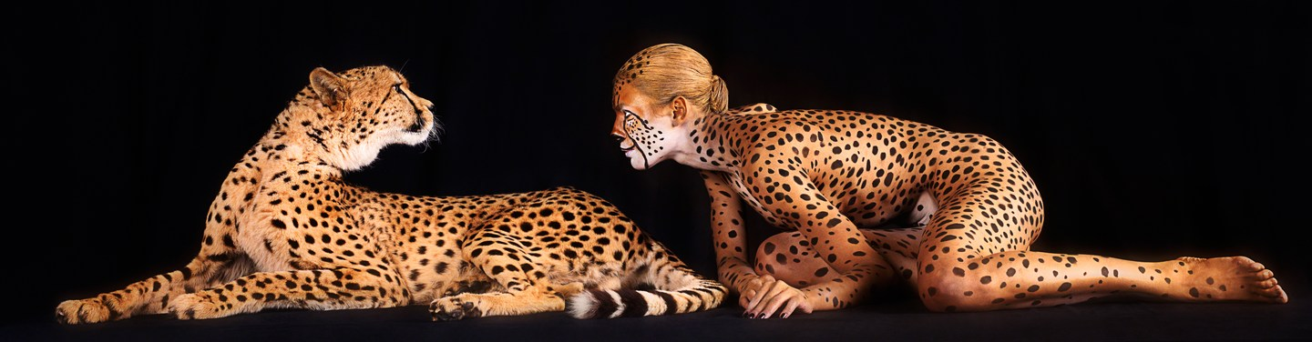 ani-human cheetah with body painted human cheetah