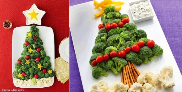 Christmas-tree-arrangement-with-brocoli-cauliflower-pepper-and-tomatoes-on-plate-585x296