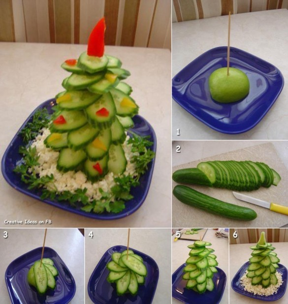 Christmas-tree-plate-arrangement-from-cucumbers-585x617