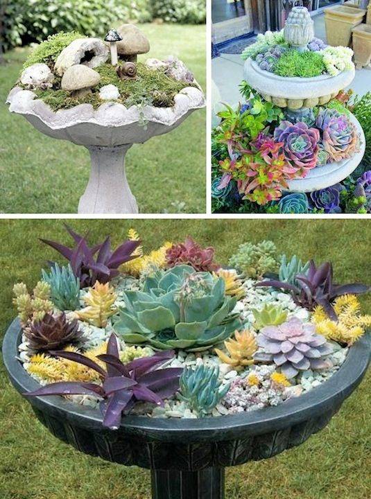 24-Creative-Garden-Container-Ideas-Bird-bath-planters-5