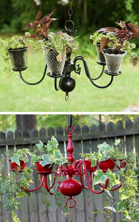 24-Creative-Garden-Container-Ideas-Chandelier-planters-15