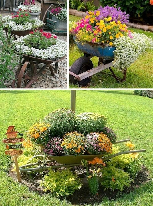 24-Creative-Garden-Container-Ideas-Use-wheel-barrows-as-planters-10